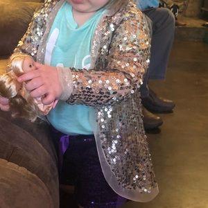 Joyfolie Gold Sequin Cardigan 3T EUC